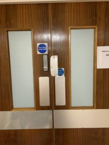 Frosted privacy window film for hospital doors