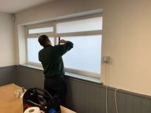 Frosted privacy window film Derby