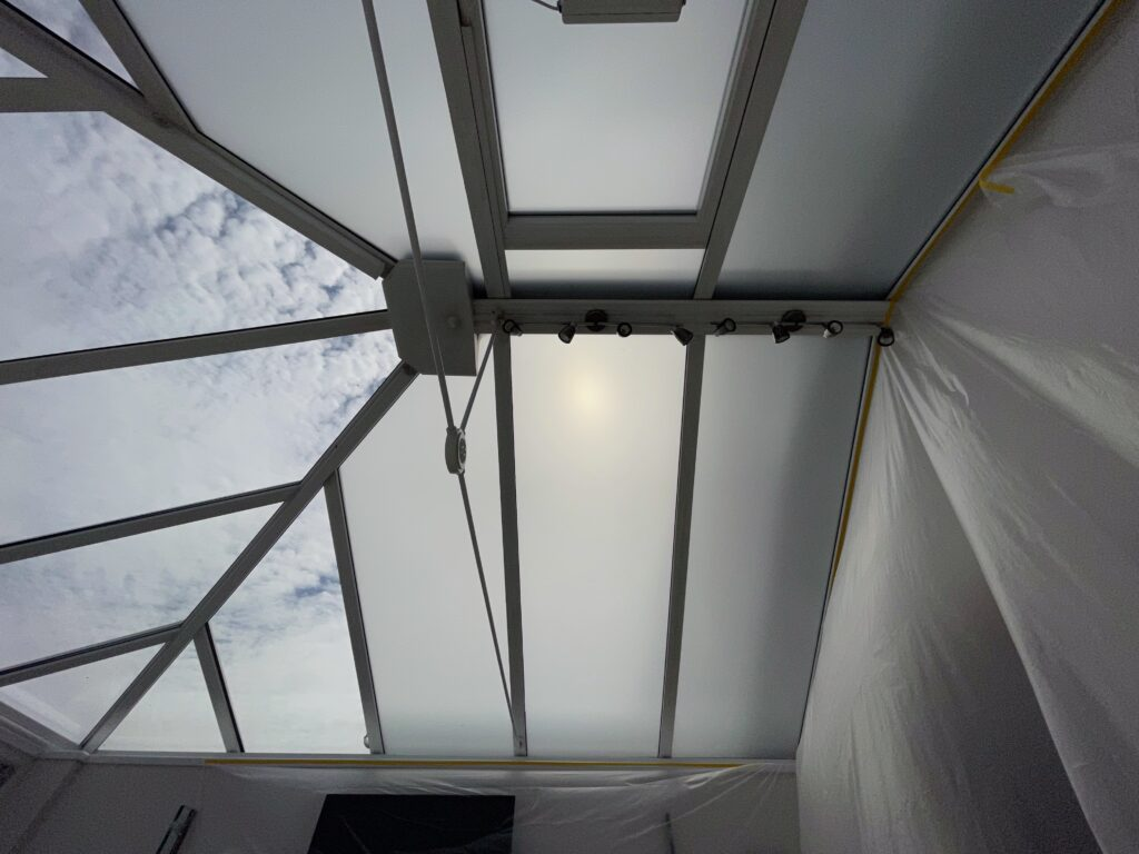 frosted privacy window film fitted to conservatory roof in Nottingham
